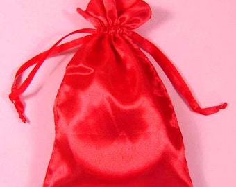"30 Red Satin Bags with Drawstrings, 3""x4"", 4""x6"", 5""x8"", Red Favor Bags, Red Favor Pouches, Satin Gift Bags, Gift Pouches, Jewelry Bags"