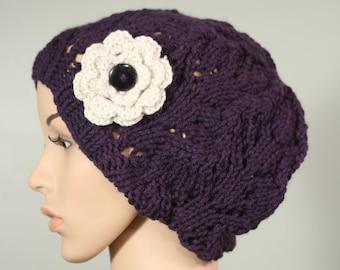 Semi Slouchy Hat with or without Flower - Purple - Handknit Cap - Women's - Linen Flower - Crochet - Interchangeable