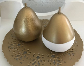 Hand Painted Golden Pears - upcycled/repurposed/updated