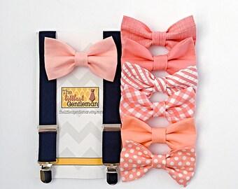 peach boys bow tie and boys navy suspenders,  salmon boys bow tie, ring bearer outfit, peach wedding bow tie, boys navy suspenders, boy bow