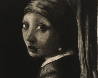 The girl with the Pearl Earring (charcoal on paper)