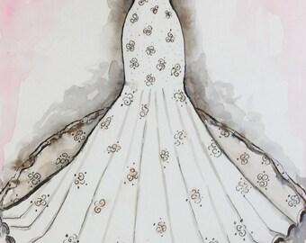 Custom Wedding Dress Watercolor