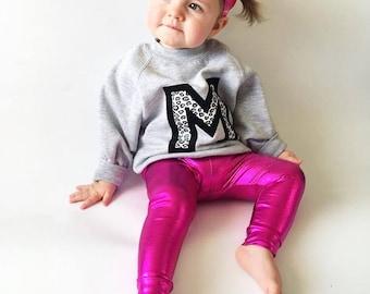 Handmade kids metallic pink festival leggings / disco pants, Size 5-6 years