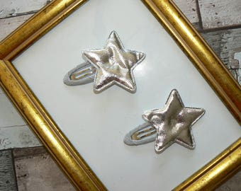 Set two barrettes Click - Clack Star Silver