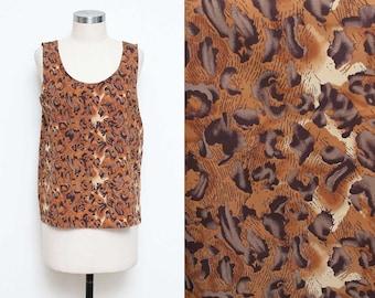 Cheetah Tank Top // Animal Print Top // 80s 90s Brown Silky Sleeveless Chic Worthington Size Small Medium
