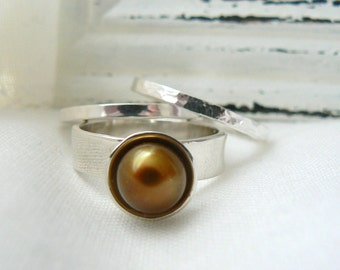 Stacking Sterling Silver Rings with Pearl - MADE TO ORDER