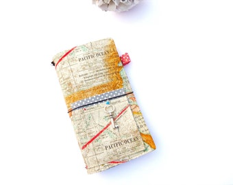 Fauxdori With Pockets - Midori Traveler's Journal Notebook With Inserts And Charm Pen Holder Map
