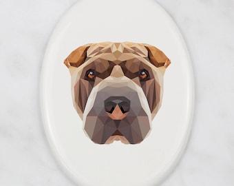 A ceramic tombstone plaque with a Shar Pei dog. Art-Dog geometric dog