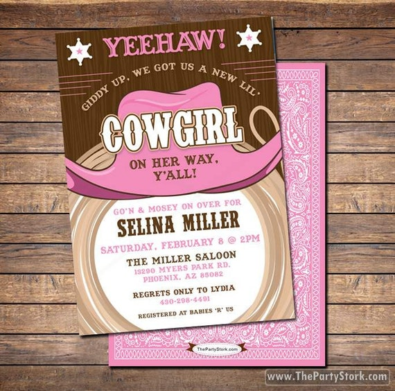 Cowgirl Baby Shower Invitations printable shower or birthday