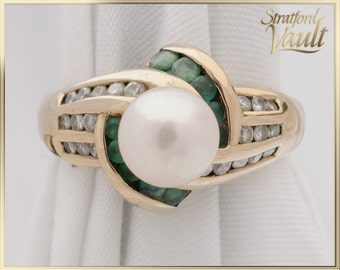 Pearl Emerald & Diamond Ring ~ 10K Yellow Gold ~ 7.0mm Cultured Pearl ~ Brilliant Cut Emeralds and Diamonds ~ STR17229 ~ GIA ~ 2000.00