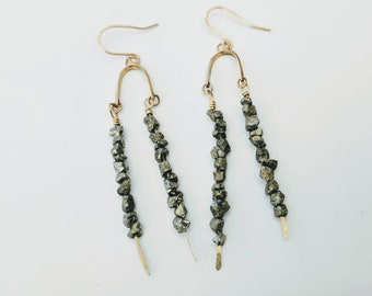 Handmade pyrite bead earrings. Statement earrings. Stonework earrings.