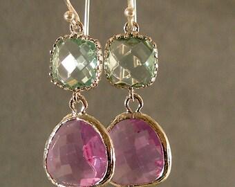 Prasiolite & Lavender Glass Silver Earrings, Bridesmaid Earrings, Wedding Earrings, Bridal Earrings, Silver Earrings
