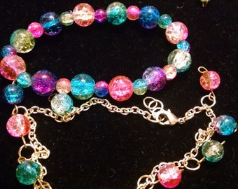 Glass beaded bracelet and anklet set
