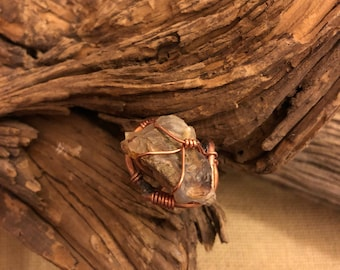 Raw Fire Agate with Copper Statement Ring