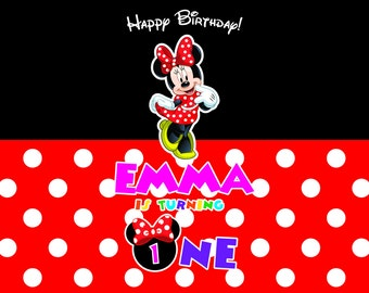 Minnie Mouse Backdrop, Minnie Background, Printable Minnie Mouse First Birthday Backdrop Banner PRINTABLE