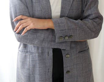 Long Plaid Blazer - Gray Plaid Jacket - Long Gray Plaid Blazer