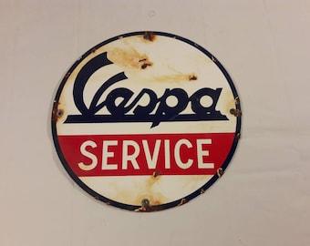 Vintage Vespa Service Porcelain Dealer Sign