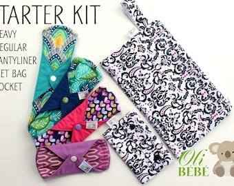 Cloth pads STARTER KIT Set of 4 100% cotton cloth menstrual pads reusable menstrual pads mama cloth pads cloth pads starter cloth pad set