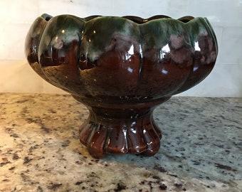 Beauce Planter, Bowl, Céramique de Beauce,Beauceware Brown Drip Glaze Midcentury Beauce Quebec, Canadian Pottery, Jardiniere ,Florists Vase