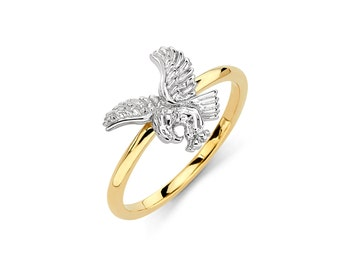14K Two-Tone Eagle Ring, Eagle Ring, Eagle Jewelry, Gold Eagle, Gold Ring, Gold Jewelry, Eagle, Bird, Bird Jewelry