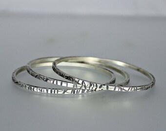 Silver Bangle - Stacking Bangles - Sterling Silver Bangles - Chiseled Silver Bangles - Heavy Stacking Bangles - Set of Silver Bangles