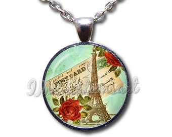 Victorian Eiffel Tower Dome Pendant or with Chain Link Necklace SM185