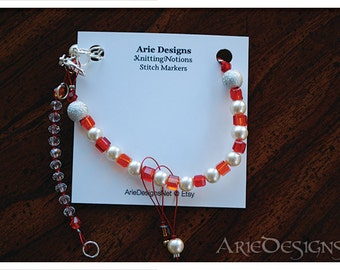 Row Counter Bracelet - Fire Red and Orange