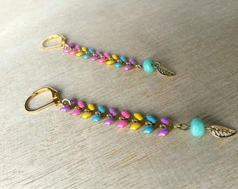 Golden earrings, multicolored pendant