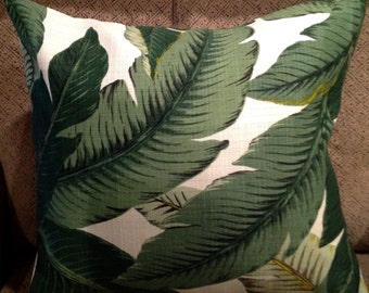 "12"" X 18"" Indoor Outdoor Tommy Bahama Swaying Palms Green and Ivory  Pillow Cover"
