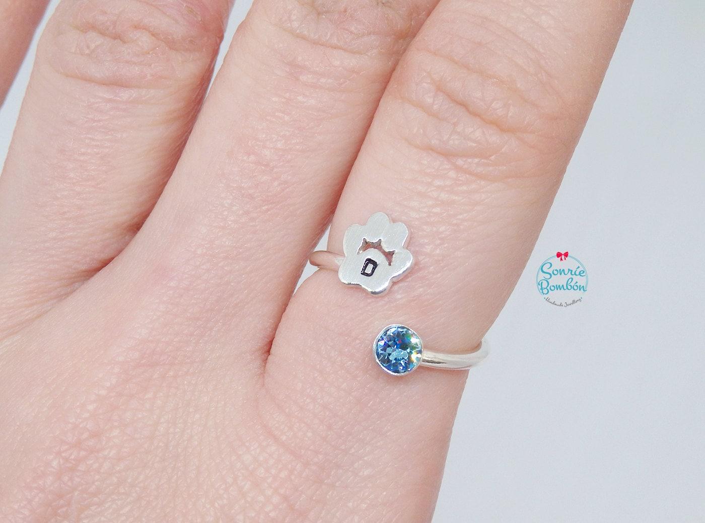 Dog paw ring / Dog paw initial ring silver / Silver ring Dog