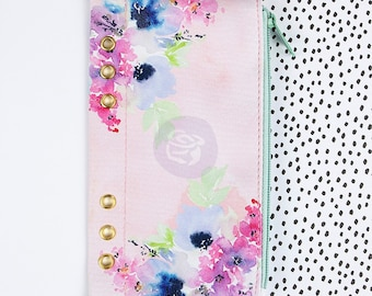 "Floral with Gold Grommets My Prima Planner Zippered Pen & Pencil Bag Little Star 4""X8"" For A5 Planner (591656)"