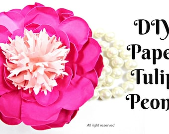 Peony paper flower leaf template pdf svg pattern for cameo and tulip peony paper flowers diy paper flower patternstemplates video tutorials pink mightylinksfo