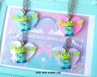 Glitter Heart Toy Story Alien Acrylic Necklace or Brooch