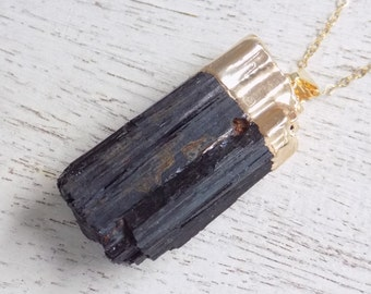 Gift For Her, Tourmaline Necklace Black Tourmaline Necklace Raw Tourmaline Necklace Tourmaline Pendant Gold Tourmaline Layer Necklace 10-536