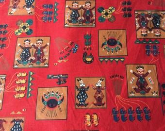 Vintage Fabric Southwest Indian Motif Joan Messmore Cranston VIP  Decor or Quilting, sewing, Cranston VIP Yard