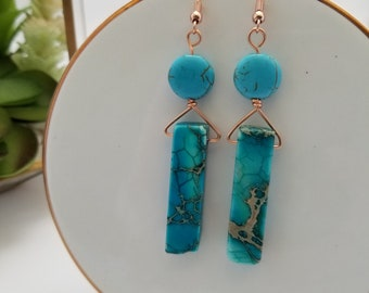 Turquoise earrings. Copper and blue earrings. Boho. Minimal. Blue. Turquoise and copper. Stone earrings. Rectangle. Bright. Fashion