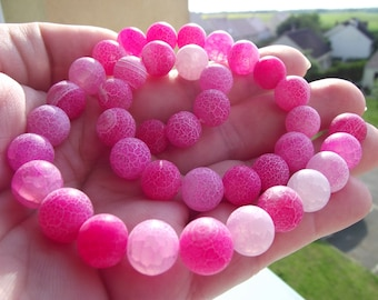 4 FIRE 10 MM PINK DRAGON VEINS AGATE BEADS.