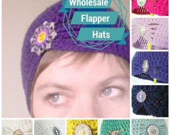 Wholesale Crochet Cloche Hats - choose your own colors and brooches - 10 Hats at Half-Price - Wholesale for Your Shop