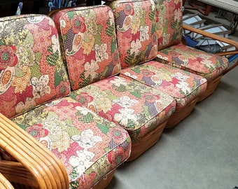 Vintage Original Spring Loaded Cushion Pair For Mid Century Rattan Sofa And  Chairs RARE