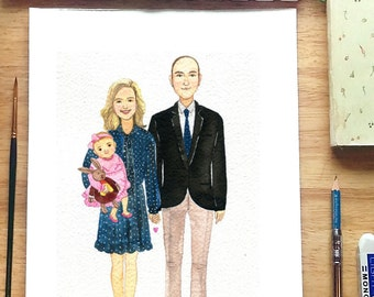 CUSTOM FAMILY portrait,11x14 inch. , Custom family illustration, Memorial Portrait ,custom portrait, watercolor portrait, illustration.