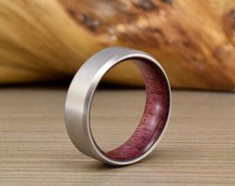 Men's Wedding Ring, Purple Heart and Titanium Wedding Band, Men's Wedding Band, Women's Ring, Unique Wedding Ring
