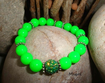 Neon Green elastic bracelet, rhinestone and silver beads for women