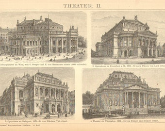 1896 European Opera Houses Original Antique Engraving to Frame