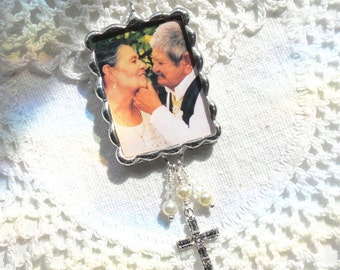 Custom Soldered glass Bouquet Charm Photo & Quote  with Rhinestone Cross, Crystals and Pearls in Silver