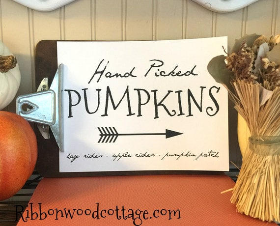 Hand Picked Pumpkins Wall Art printable quote home decor Gallery wall Print  Fall farmhouse printable