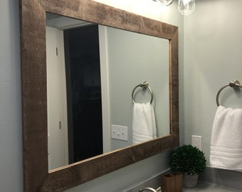 FREE SHIPPING - Shiplap Reclaimed Wood Mirror by Lane of Lenore in 20 stains - Rustic Mirror - Mirror - Bathroom Mirror – Vanity Mirror