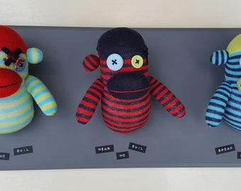 Wall Mounted See, Hear and Speak No Evil Sock Monkeys