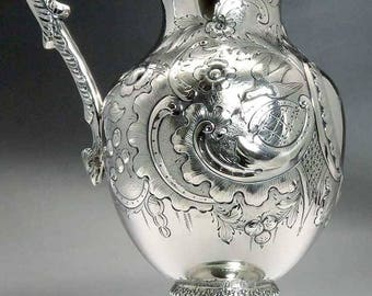 c1855 Fabulous American Coin Silver Hand Chased Water Pitcher