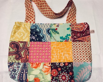 Patchwork fabric tote bag with magnetic snap
