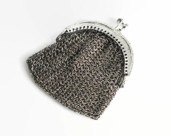 Tiny vintage silver chain mail coin purse, stainless steel chain mail, silver metal frame, kiss lock, unusual, circa mid 20th century